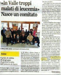 articolo giornale di brescia tumori e leucemia a Esine