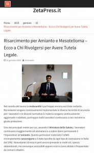 articolo di giornale sul risarcimento da amianto e mesotelioma